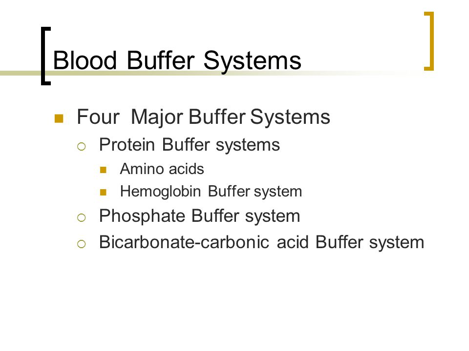 Blood Buffer Systems Four Major Buffer Systems Protein Buffer systems