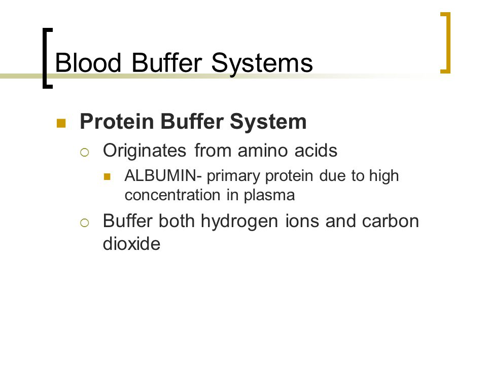 Blood Buffer Systems Protein Buffer System Originates from amino acids