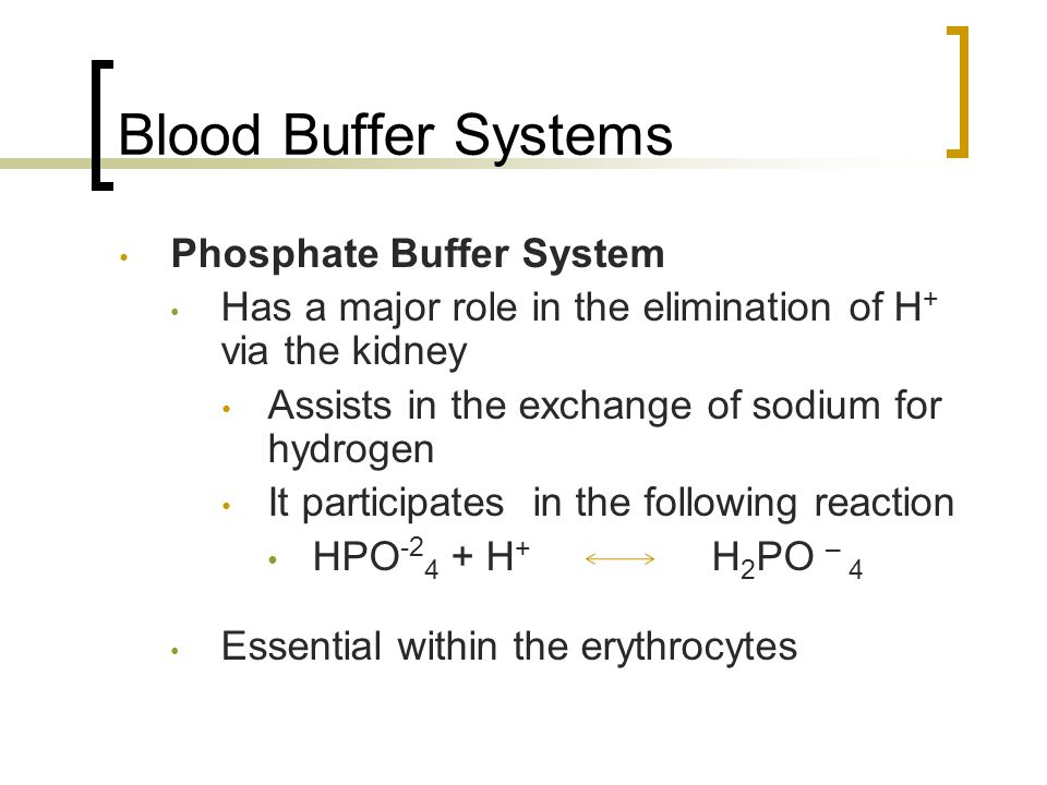 Blood Buffer Systems Phosphate Buffer System