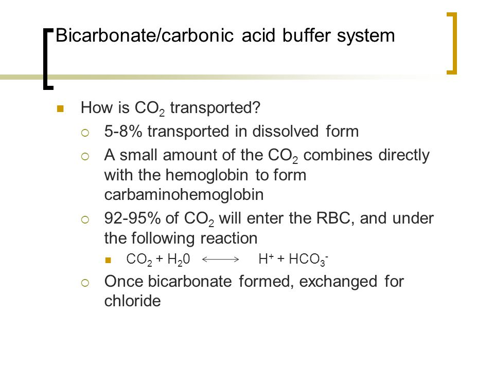 Bicarbonate/carbonic acid buffer system