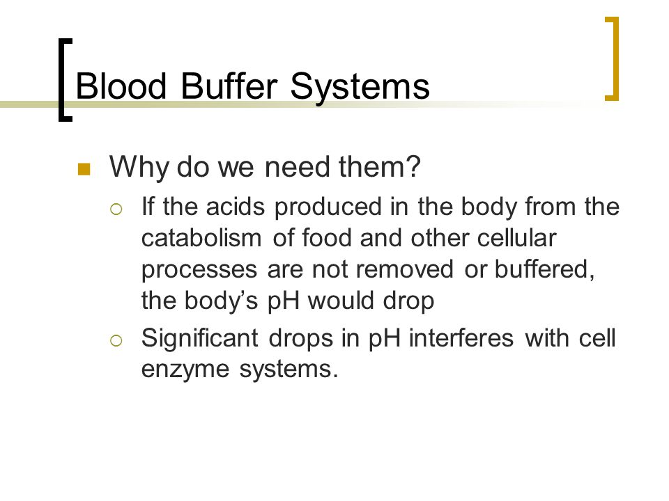 Blood Buffer Systems Why do we need them