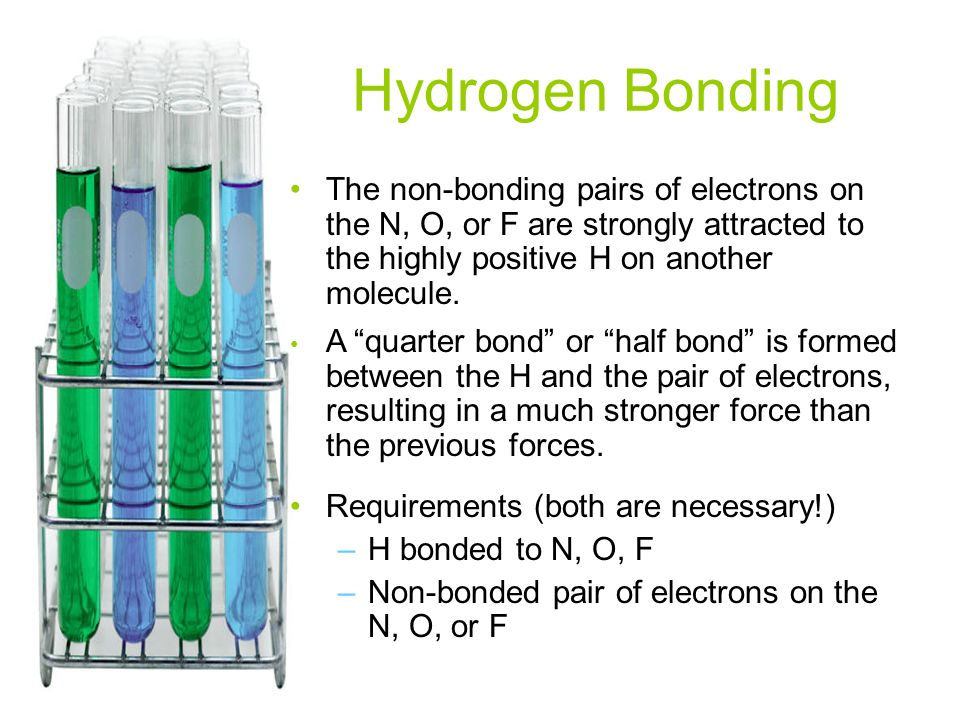 Hydrogen Bonding The non-bonding pairs of electrons on the N, O, or F are strongly attracted to the highly positive H on another molecule.