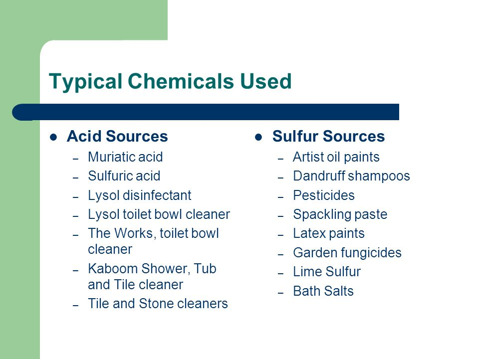 Typical Chemicals Used