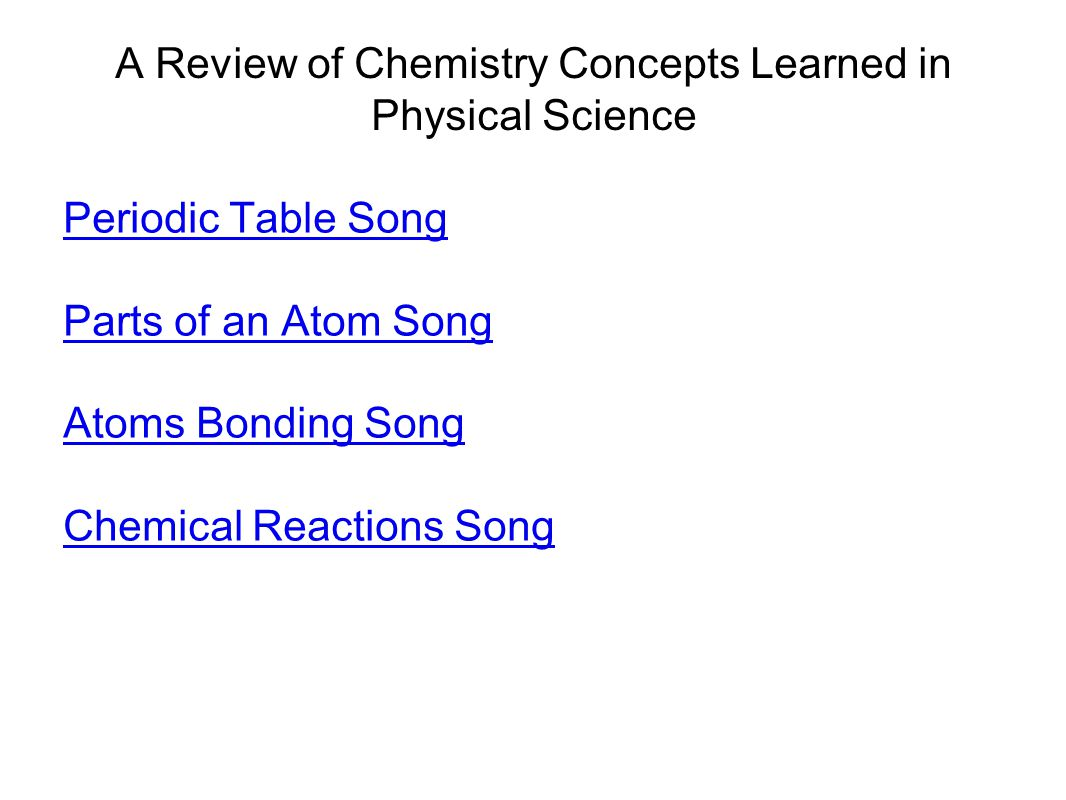A Review of Chemistry Concepts Learned in Physical Science