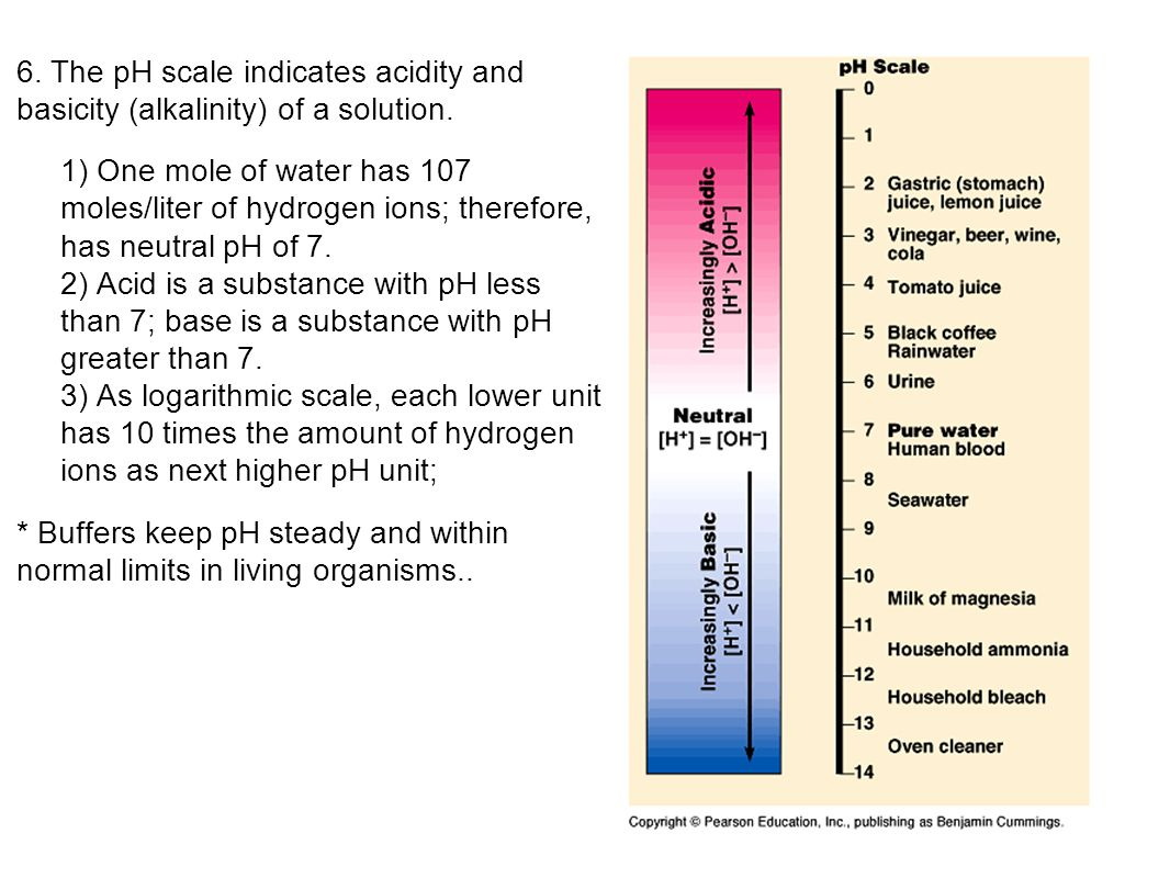 6. The pH scale indicates acidity and basicity (alkalinity) of a solution.