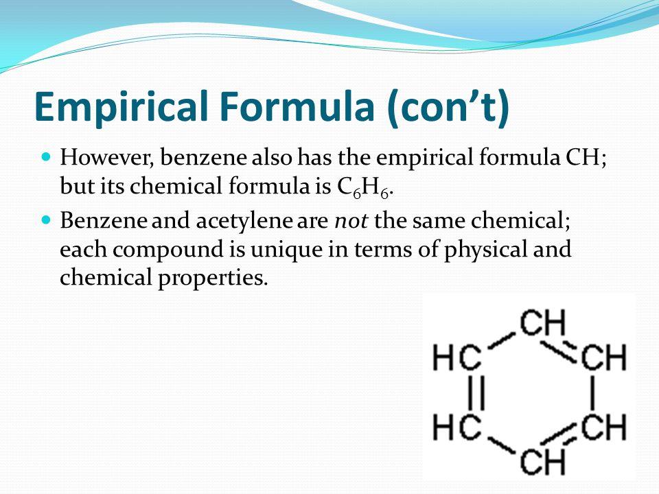 Empirical Formula (con't)