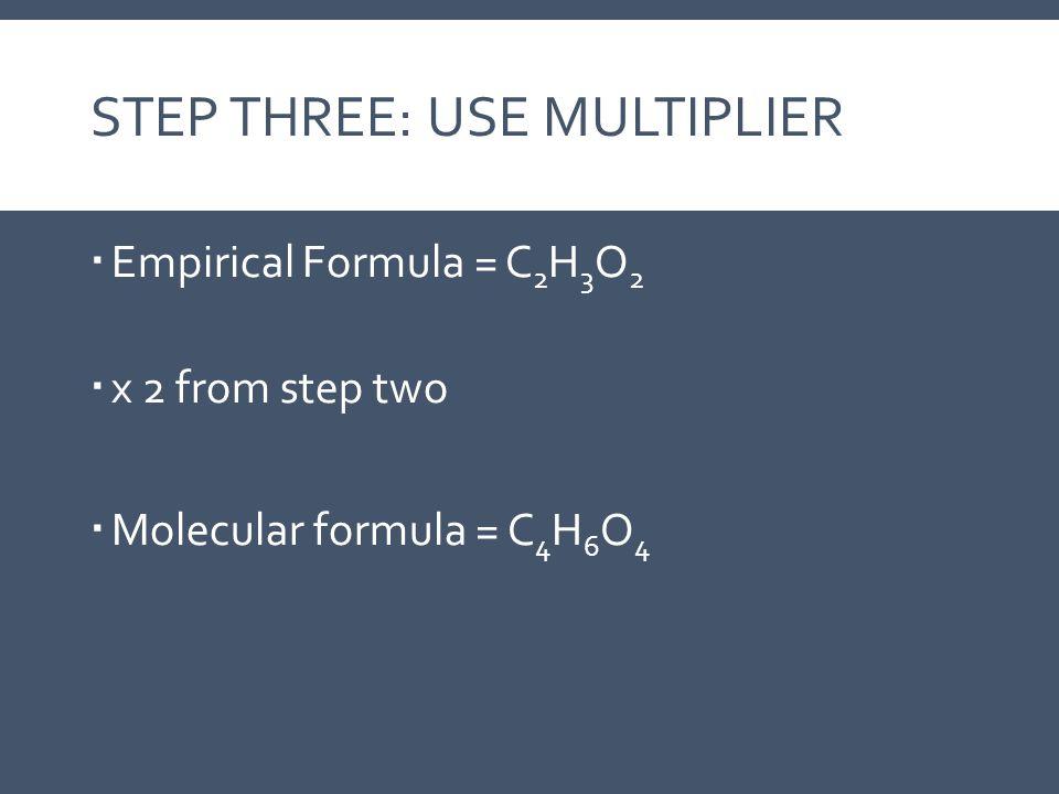 Step Three: Use Multiplier
