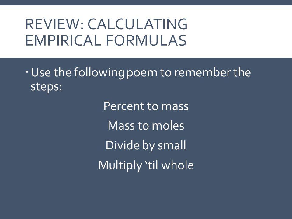REVIEW: Calculating Empirical Formulas