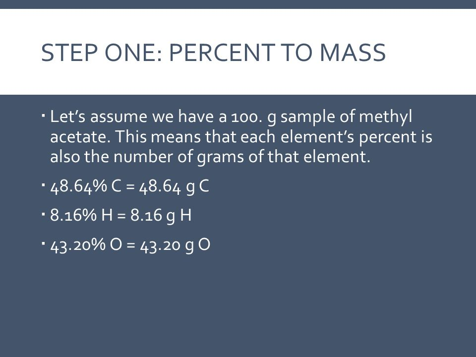 Step One: Percent to Mass