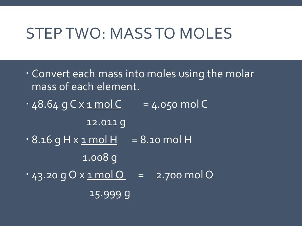 Step Two: Mass to Moles Convert each mass into moles using the molar mass of each element. 48.64 g C x 1 mol C = 4.050 mol C.