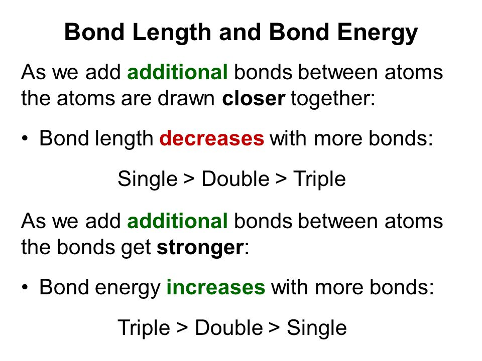 Bond Length and Bond Energy