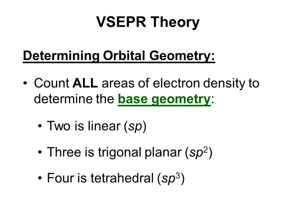 VSEPR Theory Determining Orbital Geometry:
