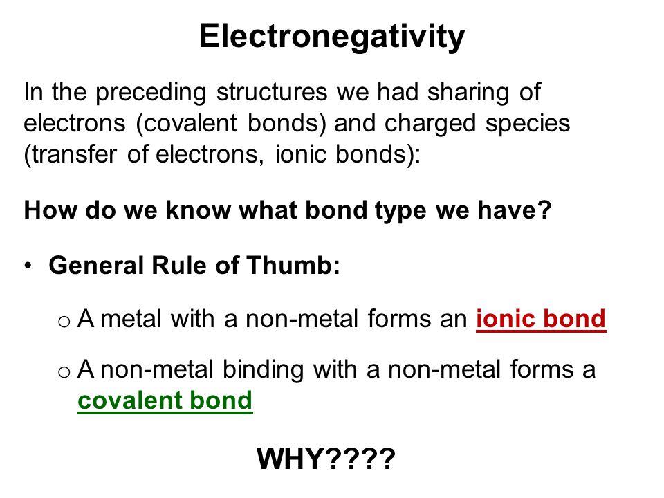 Electronegativity WHY