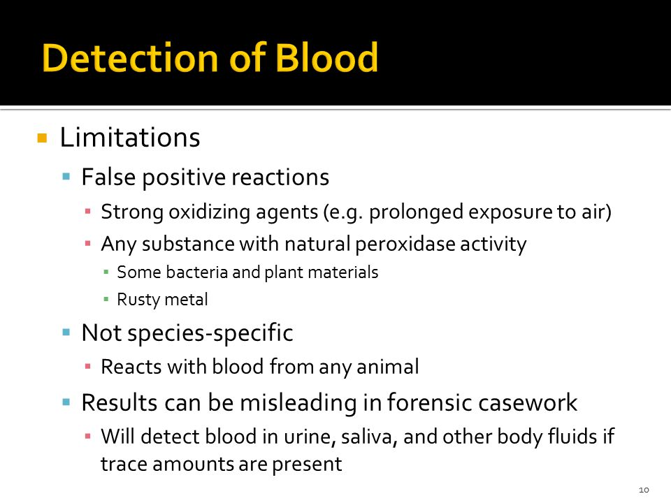 false positives in presumptive blood testing biology essay The rpr (rapid plasma reagin) card® test is a presumptive serologic screening test for syphilis the serum of a person with syphilis contains a non-specific anti-lipid antibody (traditionally termed reagin ), which is not found in normal serum.