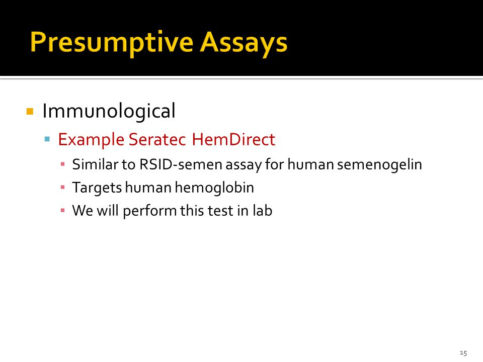 Presumptive Assays Immunological Example Seratec HemDirect