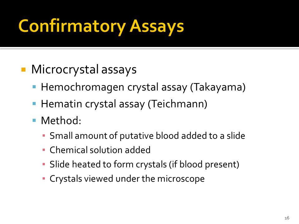Confirmatory Assays Microcrystal assays