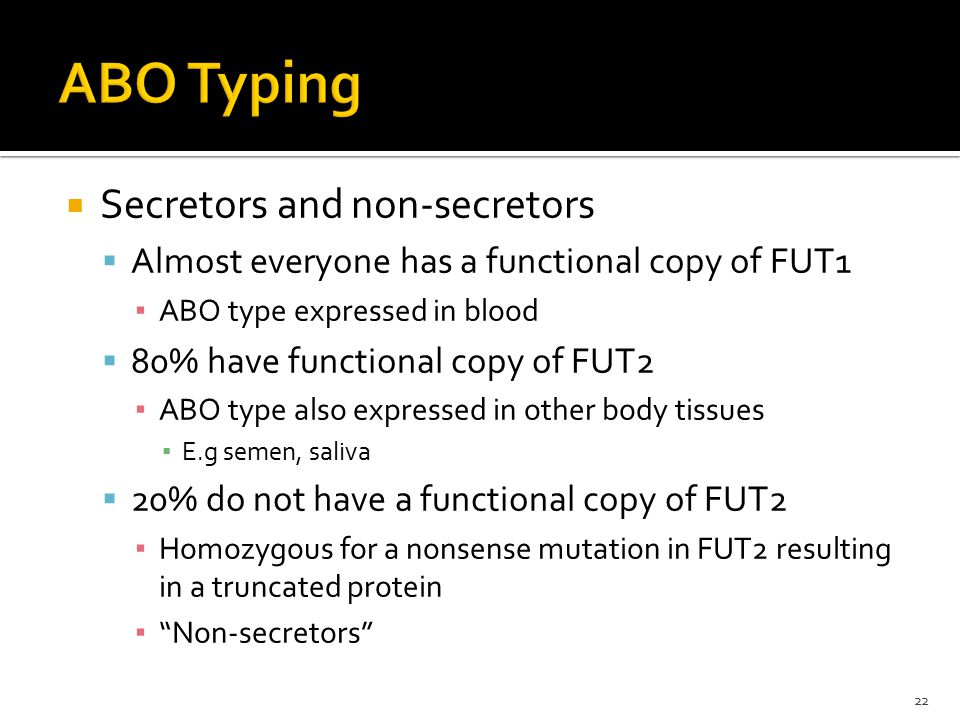 ABO Typing Secretors and non-secretors