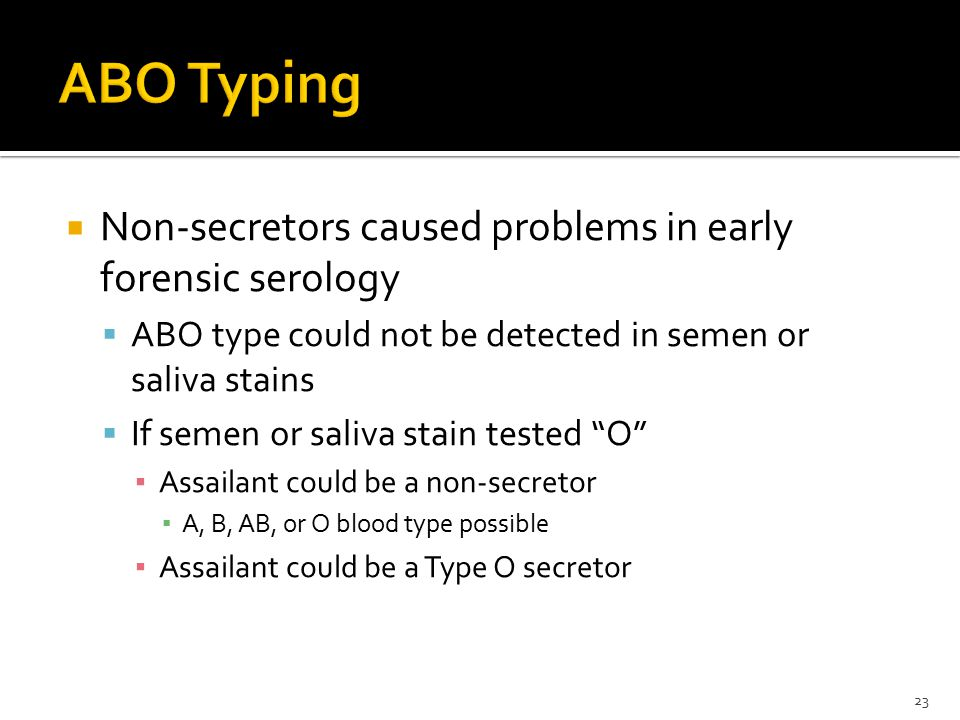 ABO Typing Non-secretors caused problems in early forensic serology