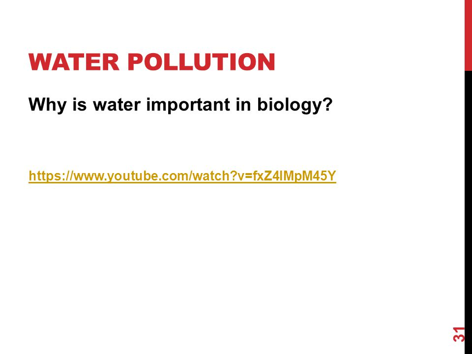 Water Pollution Why is water important in biology