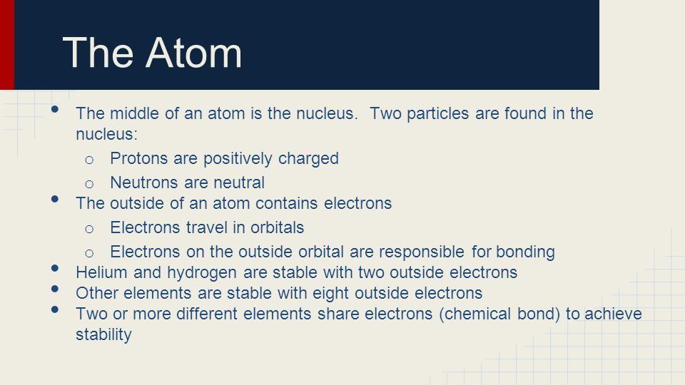 The Atom The middle of an atom is the nucleus. Two particles are found in the nucleus: Protons are positively charged.