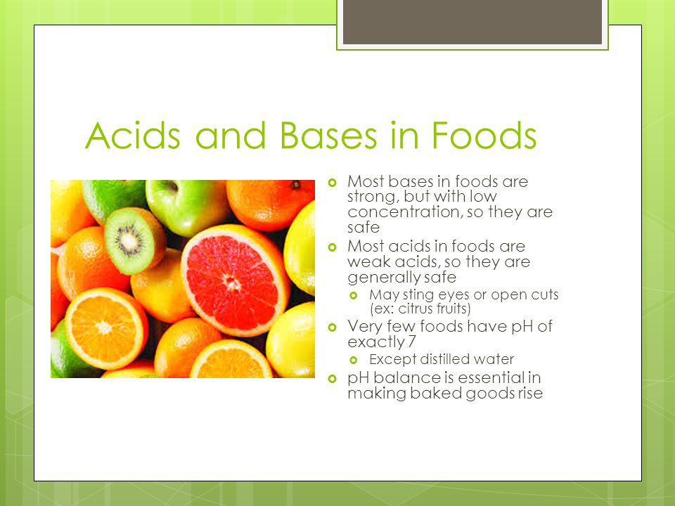 Acids and Bases in Foods