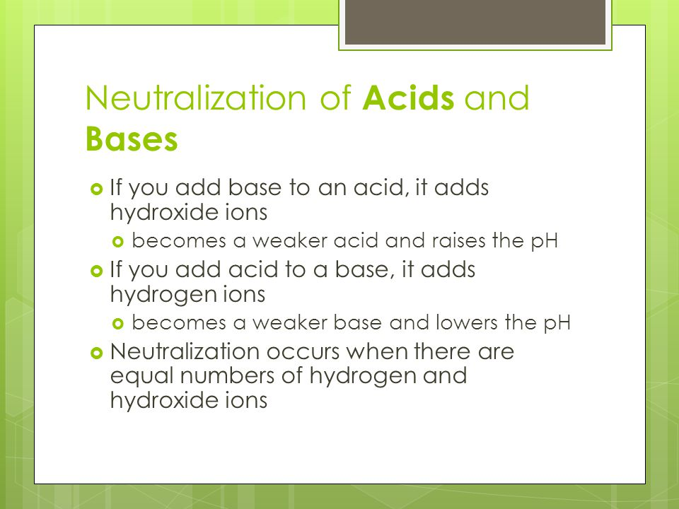 neutralizing acids and bases essay There are many different products available that aid in the neutralization of acids and bases they can be as simple as a bag of citric acid or sodium bicarbonate.