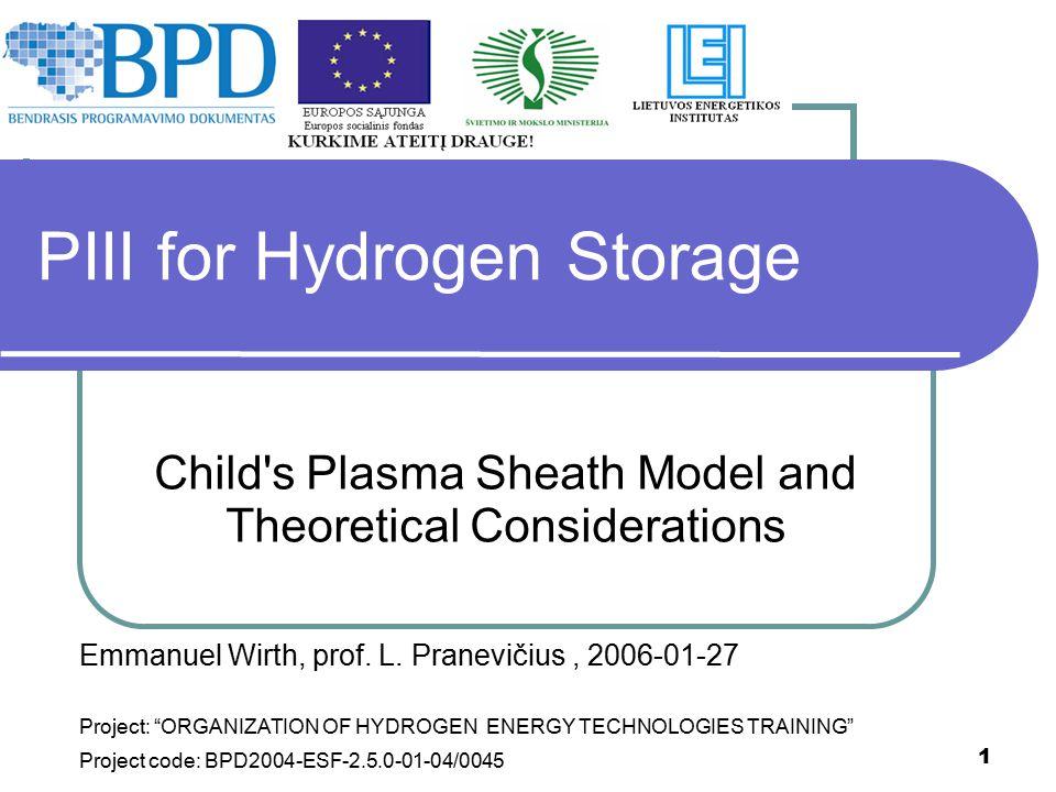 PIII for Hydrogen Storage