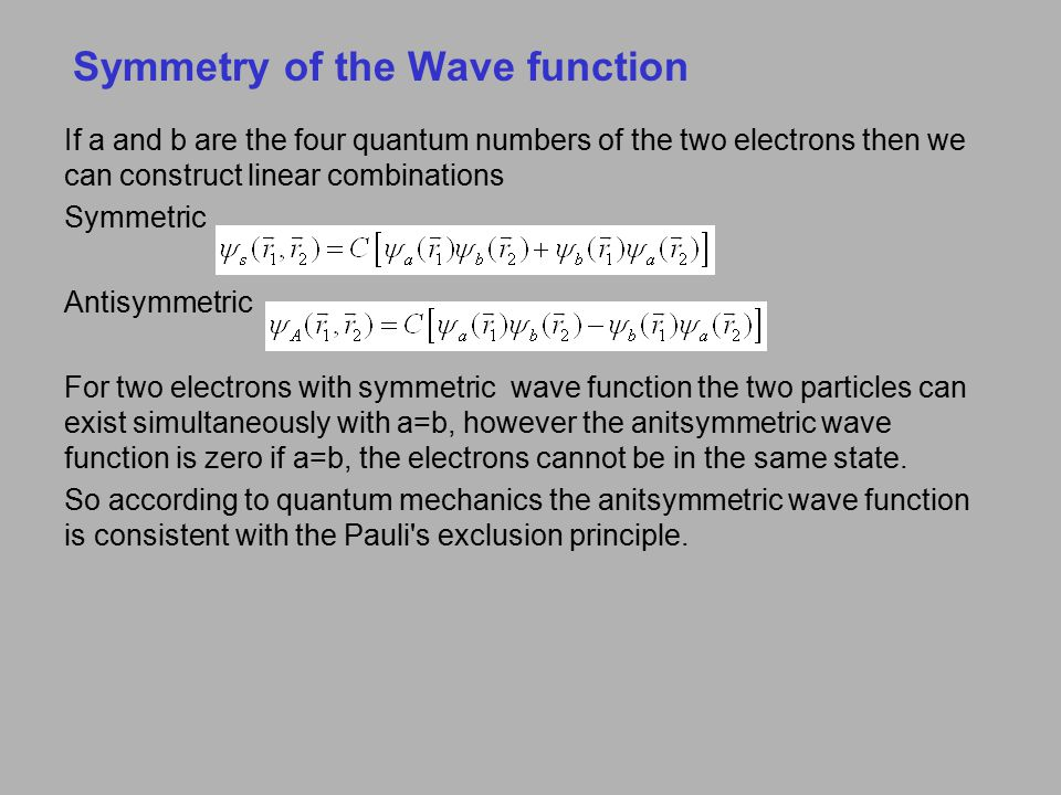 Symmetry of the Wave function