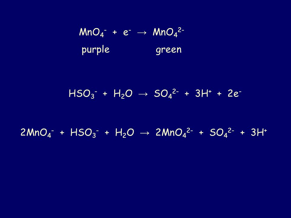 MnO4- + e- → MnO42- purple green. HSO3- + H2O → SO42- + 3H+ + 2e-