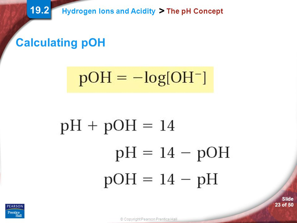 19.2 The pH Concept Calculating pOH