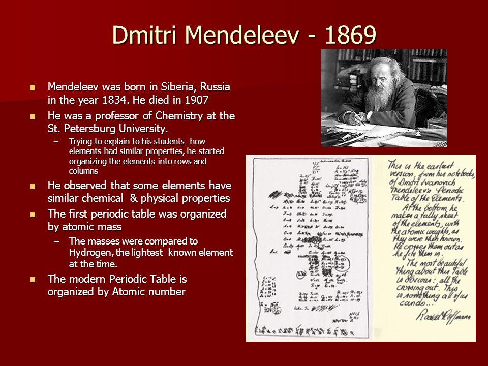Dmitri Mendeleev - 1869 Mendeleev was born in Siberia, Russia in the year 1834. He died in 1907.