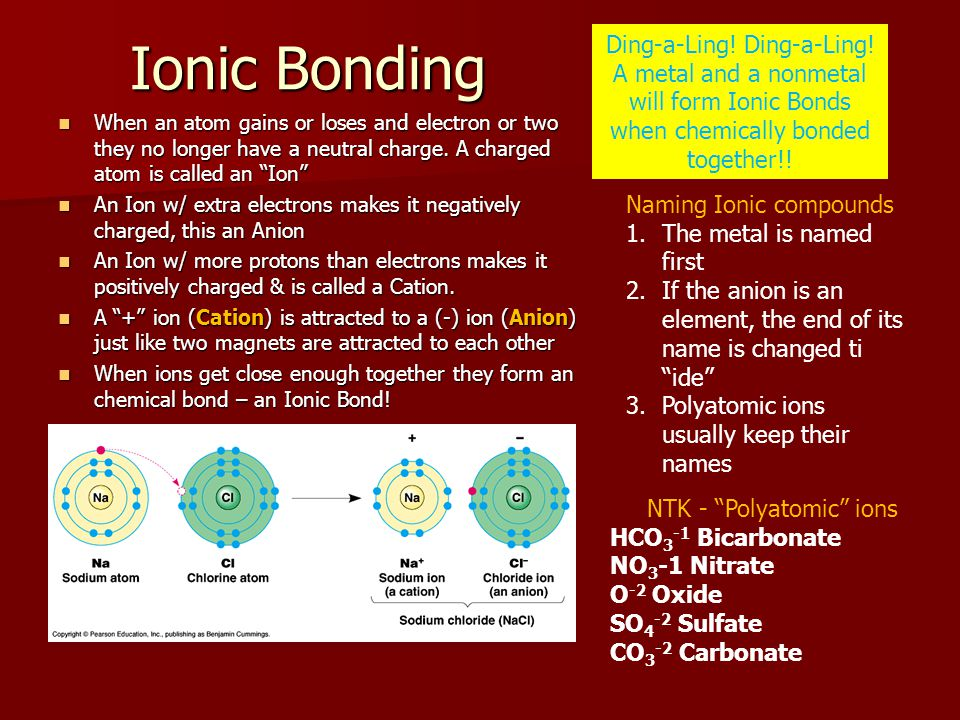 Ionic Bonding Ding-a-Ling! Ding-a-Ling!