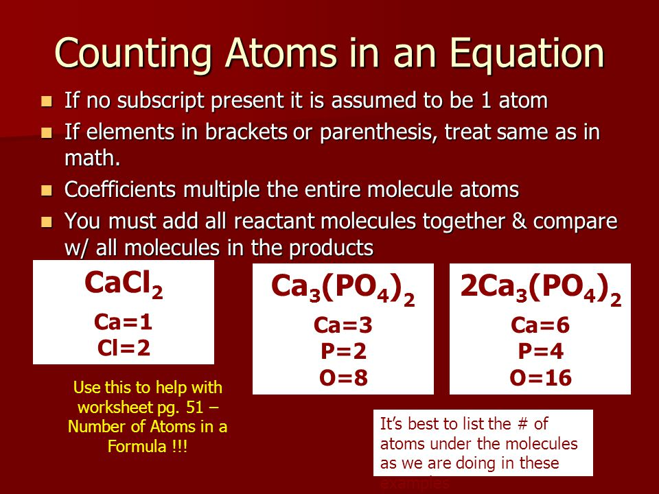 Counting Atoms in an Equation