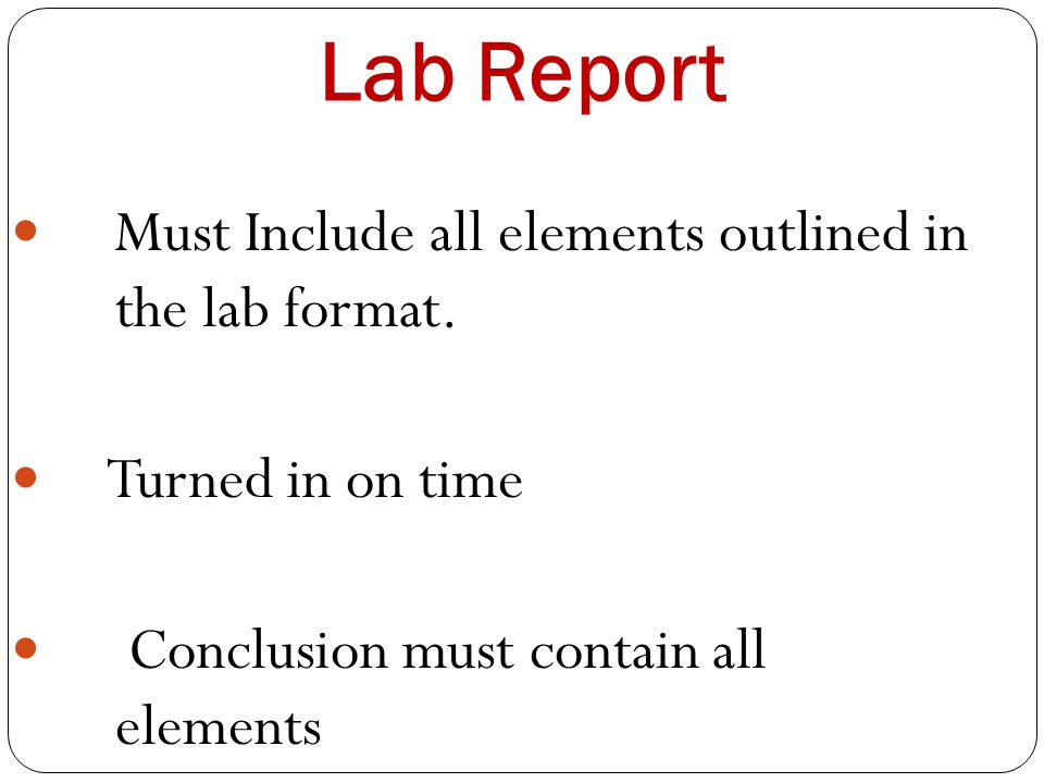 Lab Report Must Include all elements outlined in the lab format.