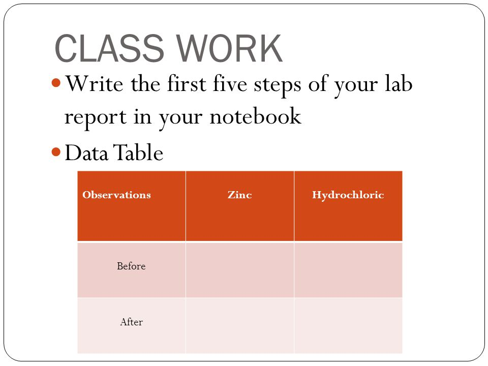 CLASS WORK Write the first five steps of your lab report in your notebook. Data Table. Observations.