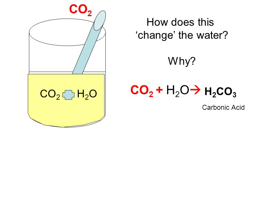 CO2 CO2 + H2O How does this 'change' the water Why H2CO3 CO2 H2O