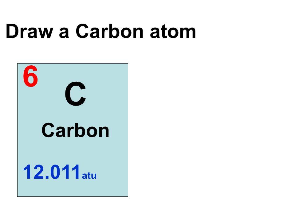 Draw a Carbon atom 6 C Carbon 12.011atu