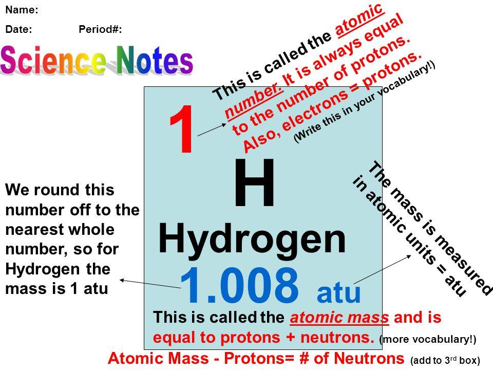 1 1 H 1.008 atu Hydrogen Science Notes