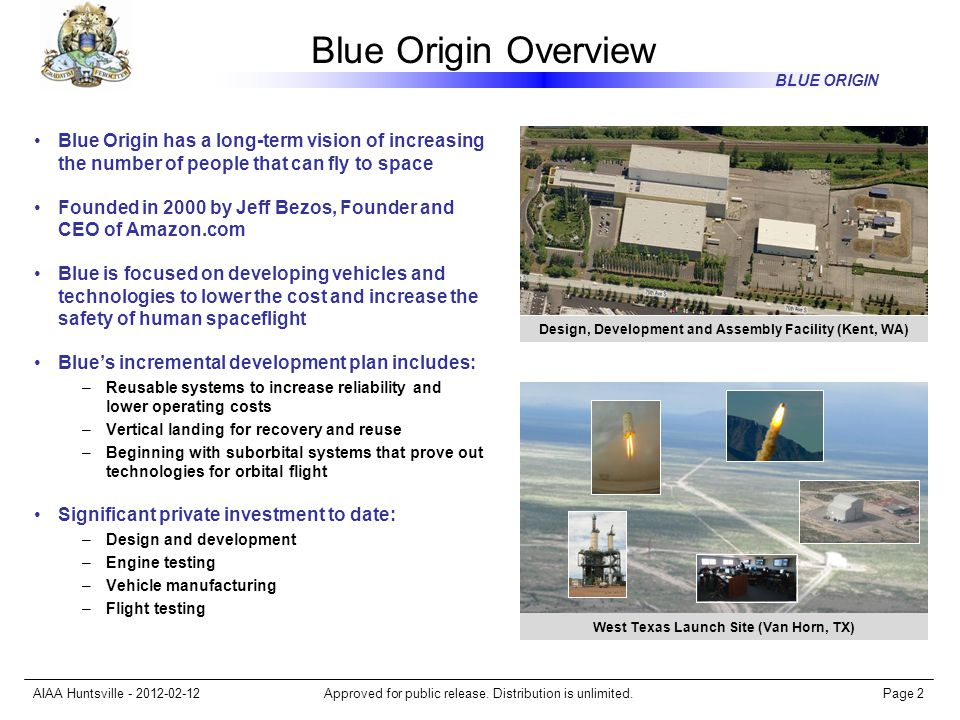 Blue Origin Overview Blue Origin has a long-term vision of increasing the number of people that can fly to space.