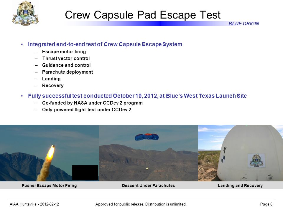 Crew Capsule Pad Escape Test