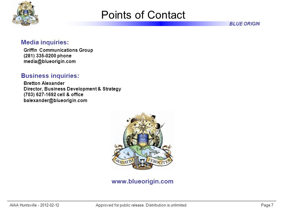 Points of Contact Media inquiries: Business inquiries: