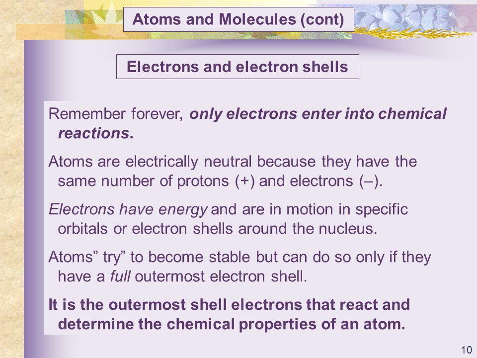 Atoms and Molecules (cont) Electrons and electron shells