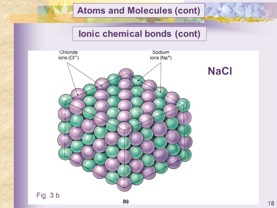 Atoms and Molecules (cont) Ionic chemical bonds (cont)
