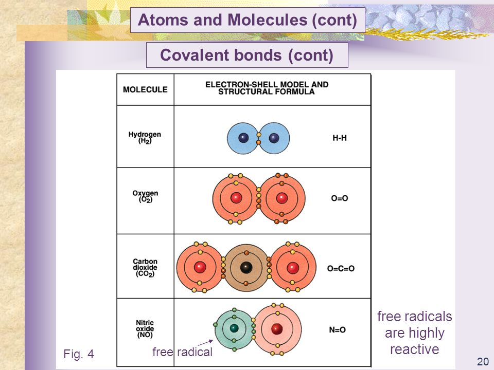 Atoms and Molecules (cont)