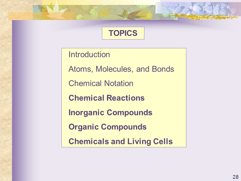TOPICS Introduction. Atoms, Molecules, and Bonds. Chemical Notation. Chemical Reactions. Inorganic Compounds.