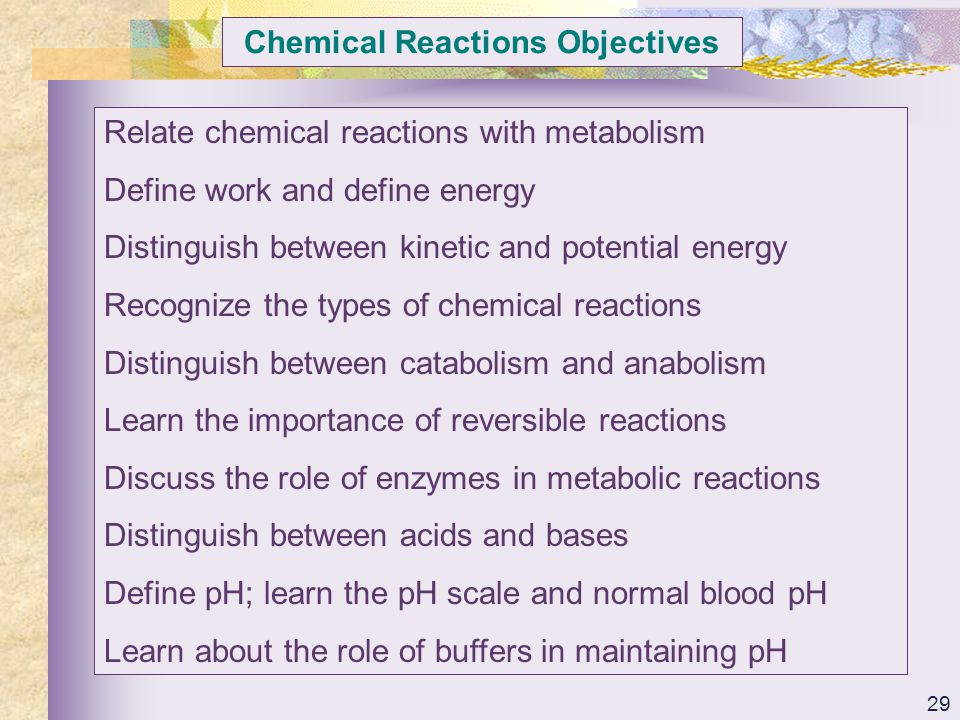 Chemical Reactions Objectives