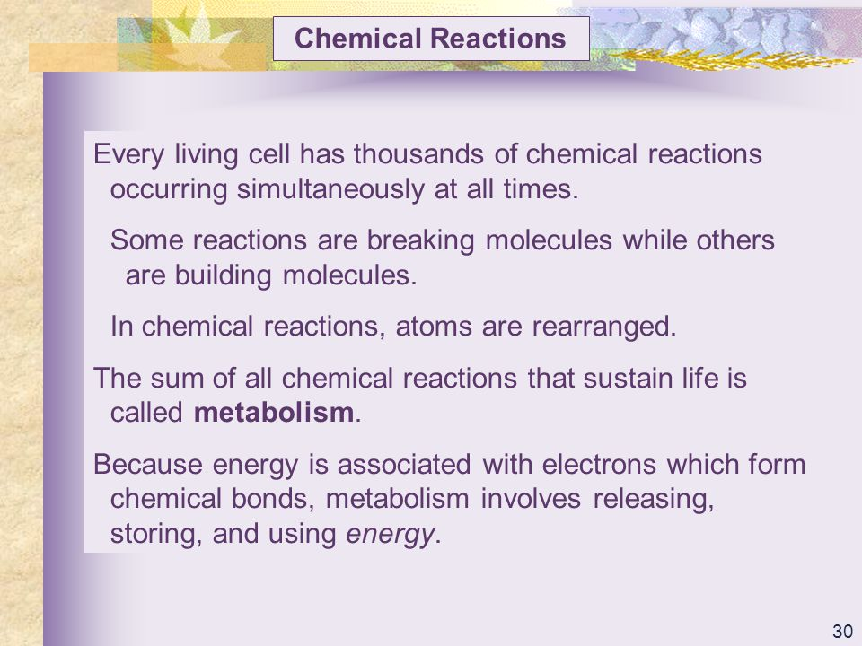 Chemical Reactions Every living cell has thousands of chemical reactions occurring simultaneously at all times.
