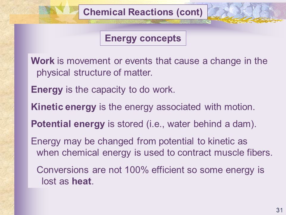 Chemical Reactions (cont)