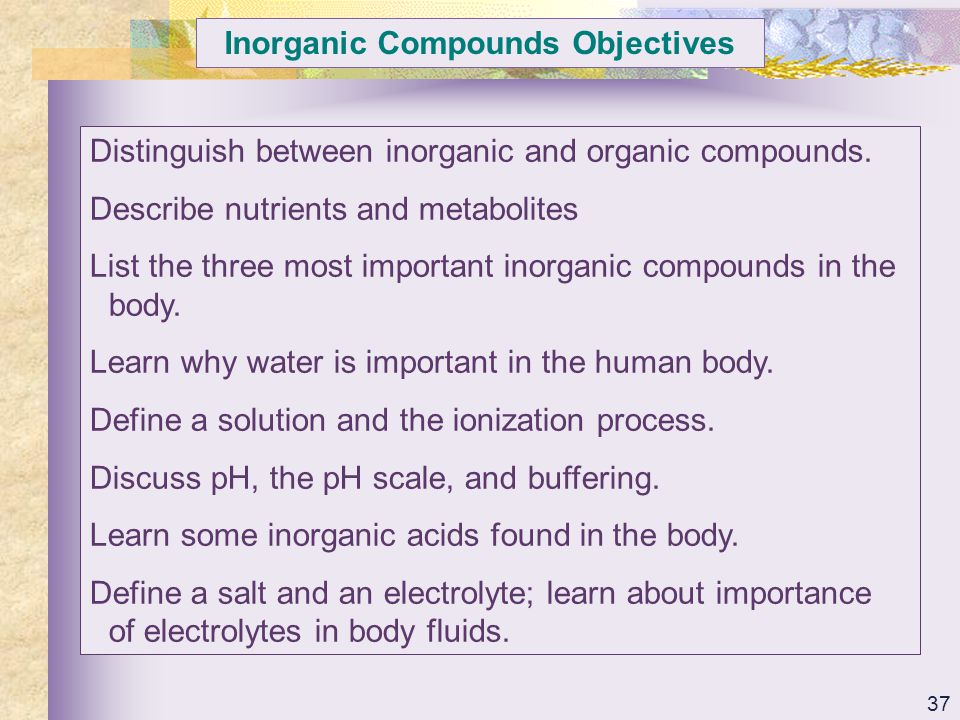 Inorganic Compounds Objectives