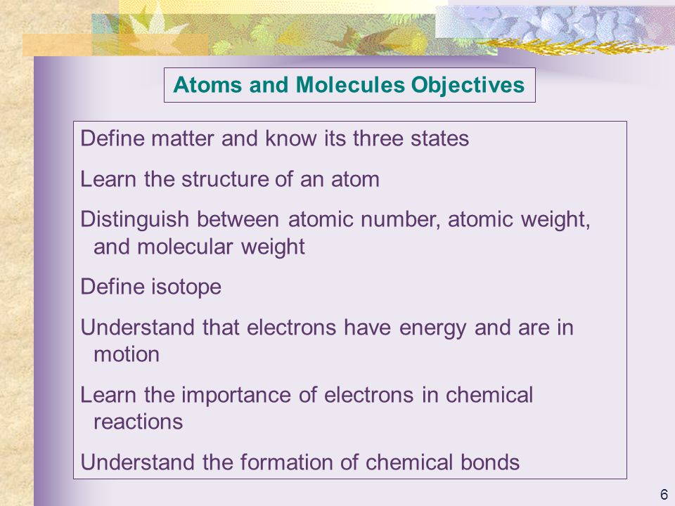 Atoms and Molecules Objectives